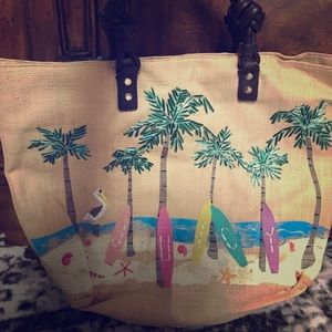 NWT Juicy Couture straw palm tree surf beach tote
